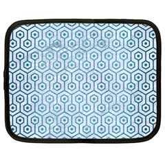 Hexagon1 White Marble & Teal Brushed Metal (r) Netbook Case (xxl)  by trendistuff