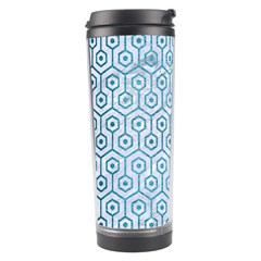 Hexagon1 White Marble & Teal Brushed Metal (r) Travel Tumbler by trendistuff
