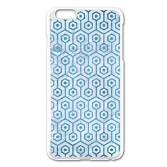 Hexagon1 White Marble & Teal Brushed Metal (r) Apple Iphone 6 Plus/6s Plus Enamel White Case by trendistuff