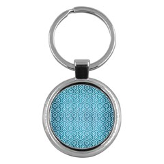 Hexagon1 White Marble & Teal Brushed Metal Key Chains (round)  by trendistuff