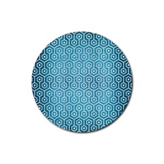 Hexagon1 White Marble & Teal Brushed Metal Rubber Coaster (round)  by trendistuff