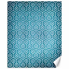 Hexagon1 White Marble & Teal Brushed Metal Canvas 11  X 14   by trendistuff