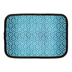 Hexagon1 White Marble & Teal Brushed Metal Netbook Case (medium)  by trendistuff