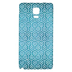 Hexagon1 White Marble & Teal Brushed Metal Galaxy Note 4 Back Case by trendistuff