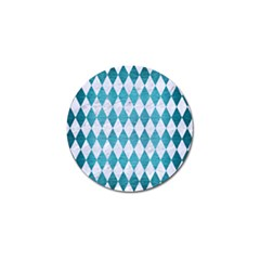 Diamond1 White Marble & Teal Brushed Metal Golf Ball Marker by trendistuff