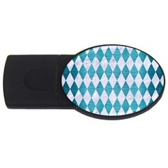 Diamond1 White Marble & Teal Brushed Metal Usb Flash Drive Oval (2 Gb) by trendistuff