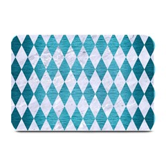 Diamond1 White Marble & Teal Brushed Metal Plate Mats by trendistuff