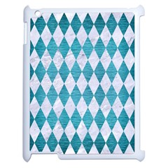 Diamond1 White Marble & Teal Brushed Metal Apple Ipad 2 Case (white) by trendistuff