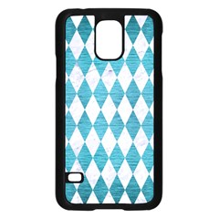 Diamond1 White Marble & Teal Brushed Metal Samsung Galaxy S5 Case (black) by trendistuff