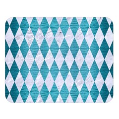 Diamond1 White Marble & Teal Brushed Metal Double Sided Flano Blanket (large)  by trendistuff
