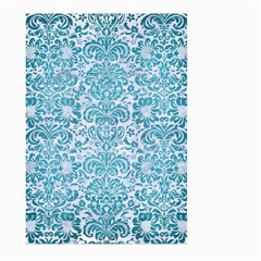 Damask2 White Marble & Teal Brushed Metal (r) Large Garden Flag (two Sides) by trendistuff