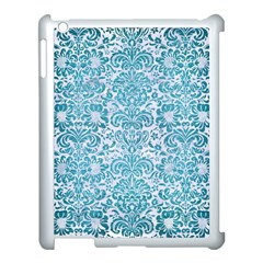 Damask2 White Marble & Teal Brushed Metal (r) Apple Ipad 3/4 Case (white) by trendistuff