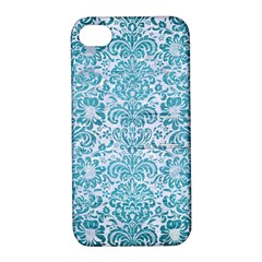 Damask2 White Marble & Teal Brushed Metal (r) Apple Iphone 4/4s Hardshell Case With Stand by trendistuff