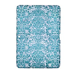 Damask2 White Marble & Teal Brushed Metal (r) Samsung Galaxy Tab 2 (10 1 ) P5100 Hardshell Case  by trendistuff