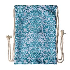 Damask2 White Marble & Teal Brushed Metal (r) Drawstring Bag (large) by trendistuff
