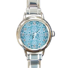 Damask2 White Marble & Teal Brushed Metal Round Italian Charm Watch by trendistuff