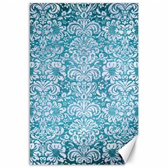Damask2 White Marble & Teal Brushed Metal Canvas 24  X 36  by trendistuff