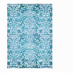 Damask2 White Marble & Teal Brushed Metal Large Garden Flag (two Sides) by trendistuff