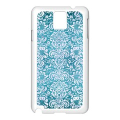 Damask2 White Marble & Teal Brushed Metal Samsung Galaxy Note 3 N9005 Case (white) by trendistuff