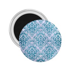 Damask1 White Marble & Teal Brushed Metal (r) 2 25  Magnets by trendistuff