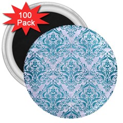 Damask1 White Marble & Teal Brushed Metal (r) 3  Magnets (100 Pack) by trendistuff
