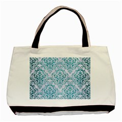 Damask1 White Marble & Teal Brushed Metal (r) Basic Tote Bag by trendistuff