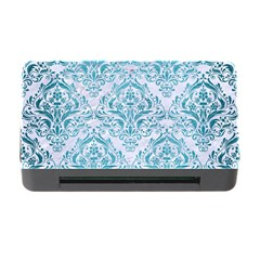 Damask1 White Marble & Teal Brushed Metal (r) Memory Card Reader With Cf by trendistuff
