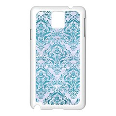 Damask1 White Marble & Teal Brushed Metal (r) Samsung Galaxy Note 3 N9005 Case (white) by trendistuff