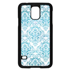 Damask1 White Marble & Teal Brushed Metal (r) Samsung Galaxy S5 Case (black) by trendistuff