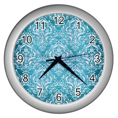 Damask1 White Marble & Teal Brushed Metal Wall Clocks (silver)  by trendistuff