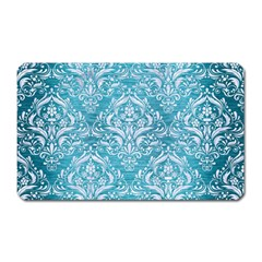 Damask1 White Marble & Teal Brushed Metal Magnet (rectangular) by trendistuff