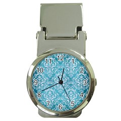 Damask1 White Marble & Teal Brushed Metal Money Clip Watches by trendistuff