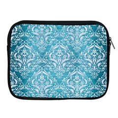 Damask1 White Marble & Teal Brushed Metal Apple Ipad 2/3/4 Zipper Cases by trendistuff