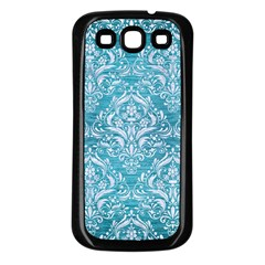 Damask1 White Marble & Teal Brushed Metal Samsung Galaxy S3 Back Case (black) by trendistuff
