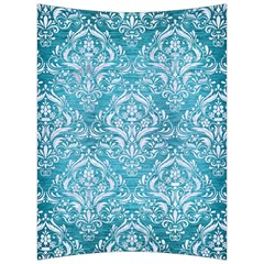 Damask1 White Marble & Teal Brushed Metal Back Support Cushion by trendistuff
