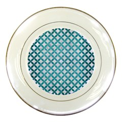 Circles3 White Marble & Teal Brushed Metal (r) Porcelain Plates by trendistuff