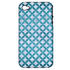 Circles3 White Marble & Teal Brushed Metal (r) Apple Iphone 4/4s Hardshell Case (pc+silicone) by trendistuff