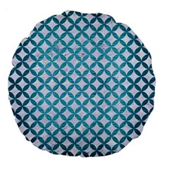 Circles3 White Marble & Teal Brushed Metal (r) Large 18  Premium Flano Round Cushions by trendistuff