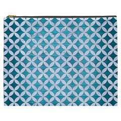 Circles3 White Marble & Teal Brushed Metal Cosmetic Bag (xxxl)  by trendistuff
