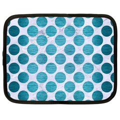 Circles2 White Marble & Teal Brushed Metal (r) Netbook Case (xxl)  by trendistuff