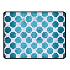 Circles2 White Marble & Teal Brushed Metal (r) Double Sided Fleece Blanket (small)  by trendistuff
