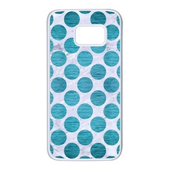 Circles2 White Marble & Teal Brushed Metal (r) Samsung Galaxy S7 White Seamless Case by trendistuff