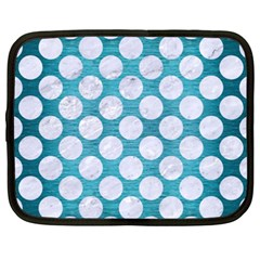 Circles2 White Marble & Teal Brushed Metal Netbook Case (xxl)  by trendistuff
