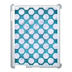 Circles2 White Marble & Teal Brushed Metal Apple Ipad 3/4 Case (white) by trendistuff