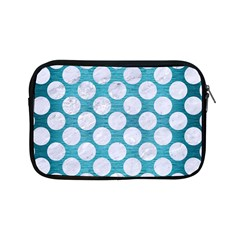 Circles2 White Marble & Teal Brushed Metal Apple Ipad Mini Zipper Cases by trendistuff