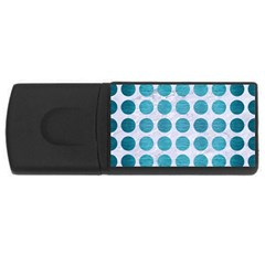 Circles1 White Marble & Teal Brushed Metal (r) Rectangular Usb Flash Drive by trendistuff