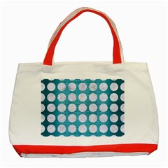Circles1 White Marble & Teal Brushed Metal Classic Tote Bag (red) by trendistuff