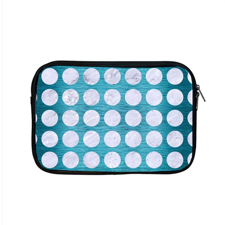 CIRCLES1 WHITE MARBLE & TEAL BRUSHED METAL Apple MacBook Pro 15  Zipper Case