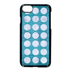 Circles1 White Marble & Teal Brushed Metal Apple Iphone 8 Seamless Case (black) by trendistuff