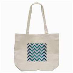 Chevron9 White Marble & Teal Brushed Metal (r) Tote Bag (cream) by trendistuff